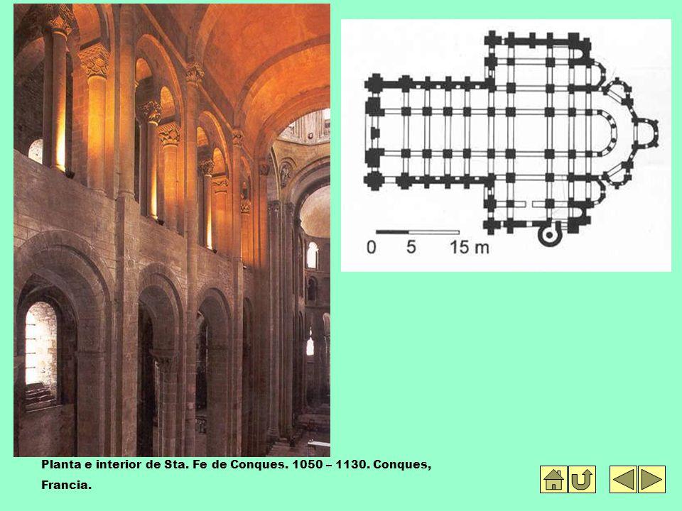 Planta e interior de Sta. Fe de Conques. 1050 – 1130. Conques,