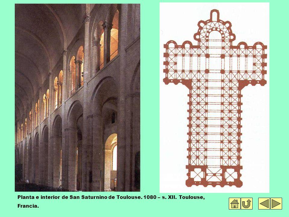 Planta e interior de San Saturnino de Toulouse. 1080 – s. XII
