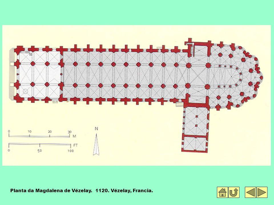 Planta da Magdalena de Vézelay. 1120. Vézelay, Francia.