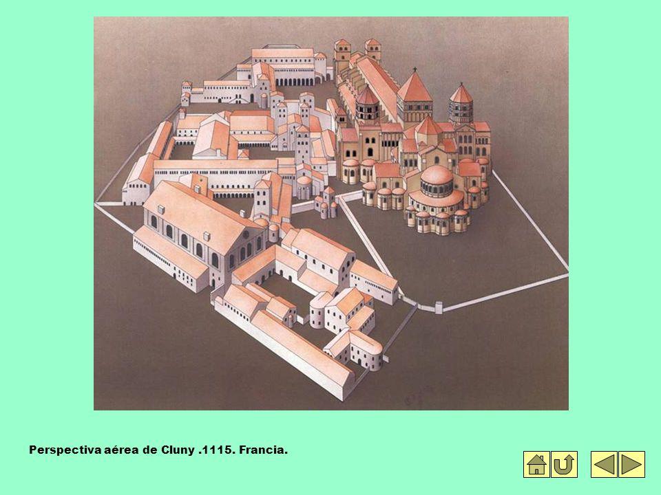 Perspectiva aérea de Cluny .1115. Francia.