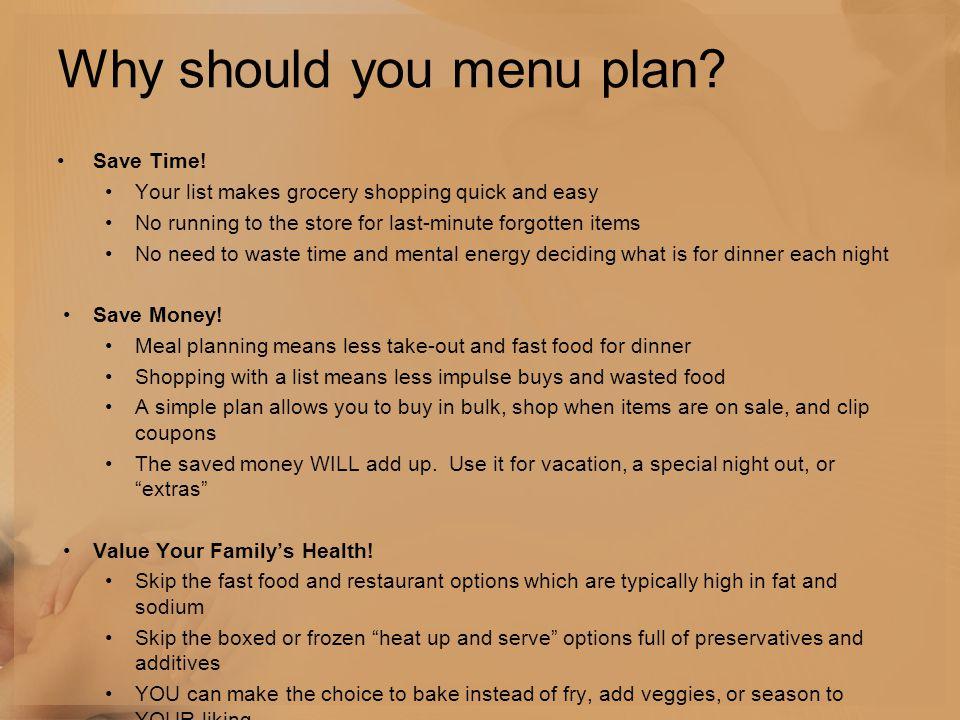 Why should you menu plan