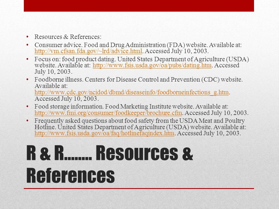 R & R…….. Resources & References