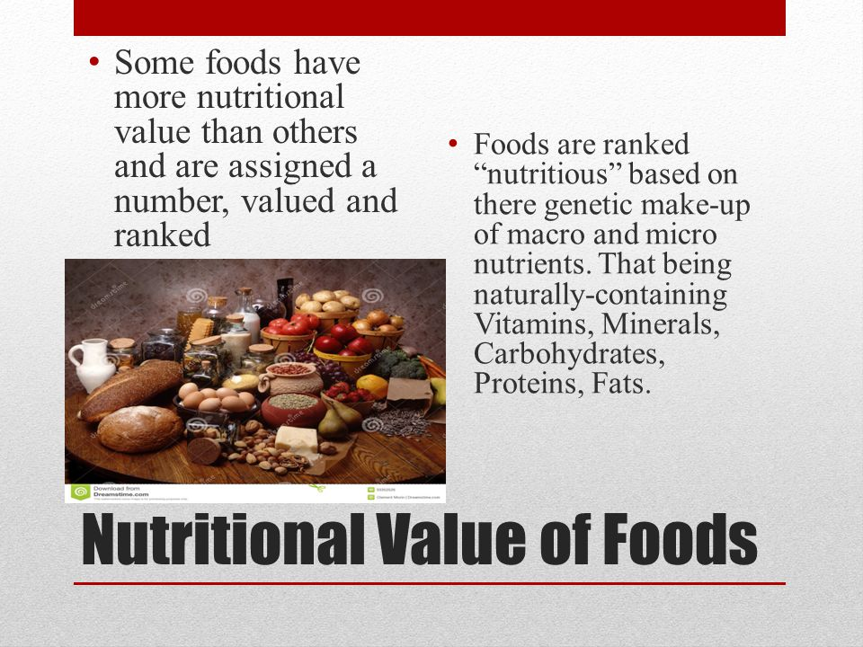 Nutritional Value of Foods