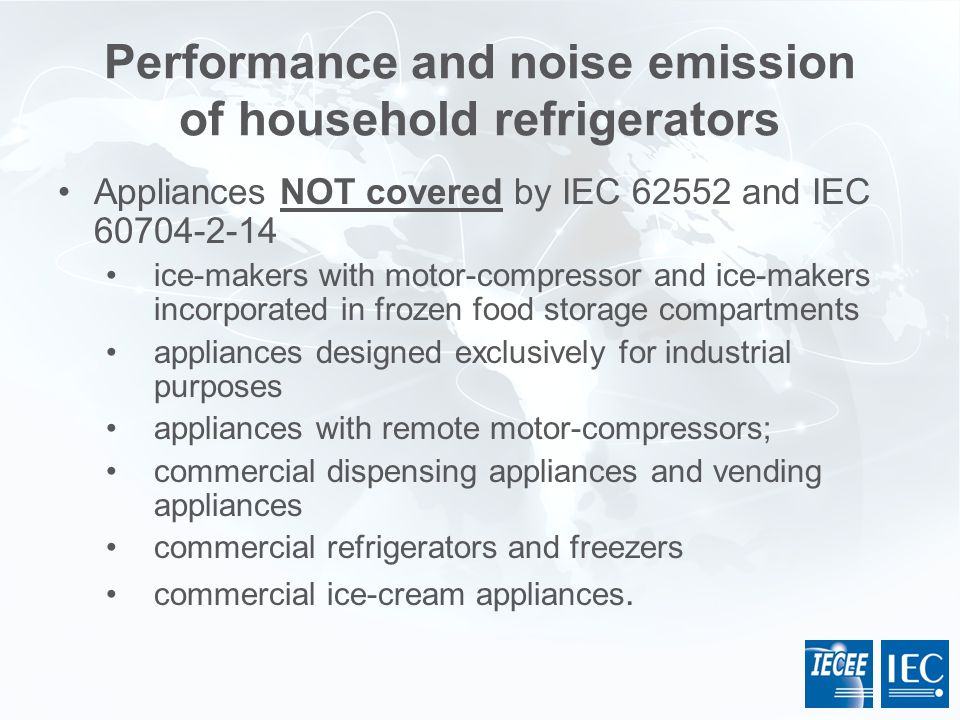Performance and noise emission of household refrigerators