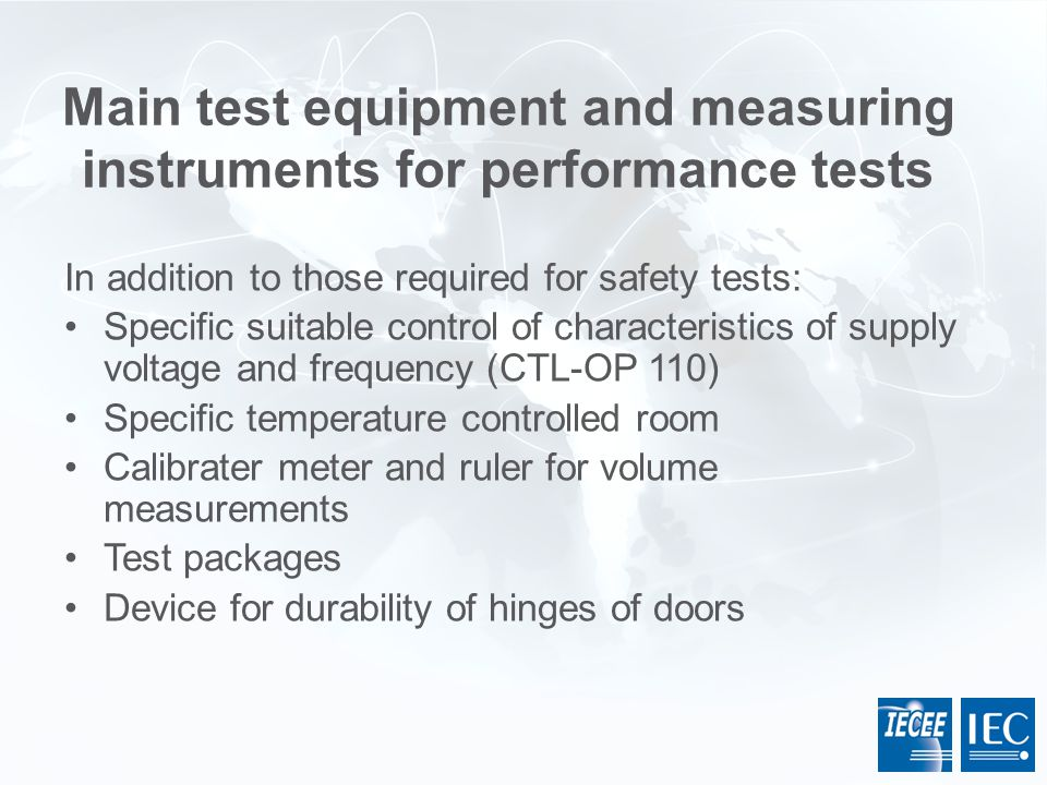 Main test equipment and measuring instruments for performance tests