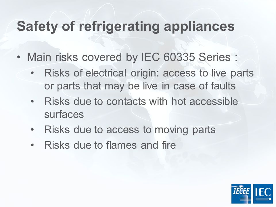 Safety of refrigerating appliances