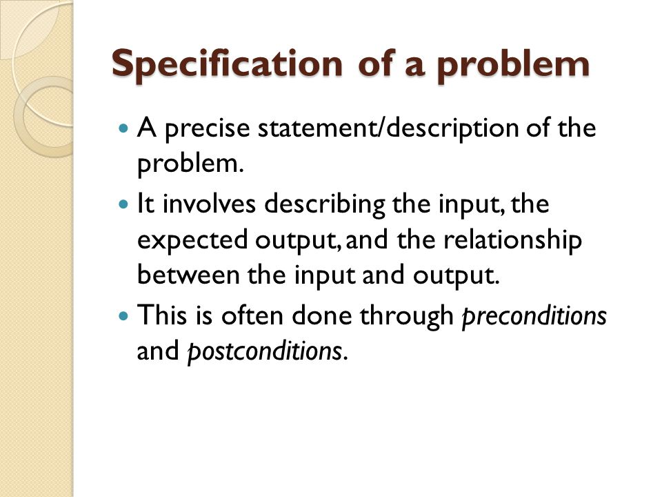 Specification of a problem