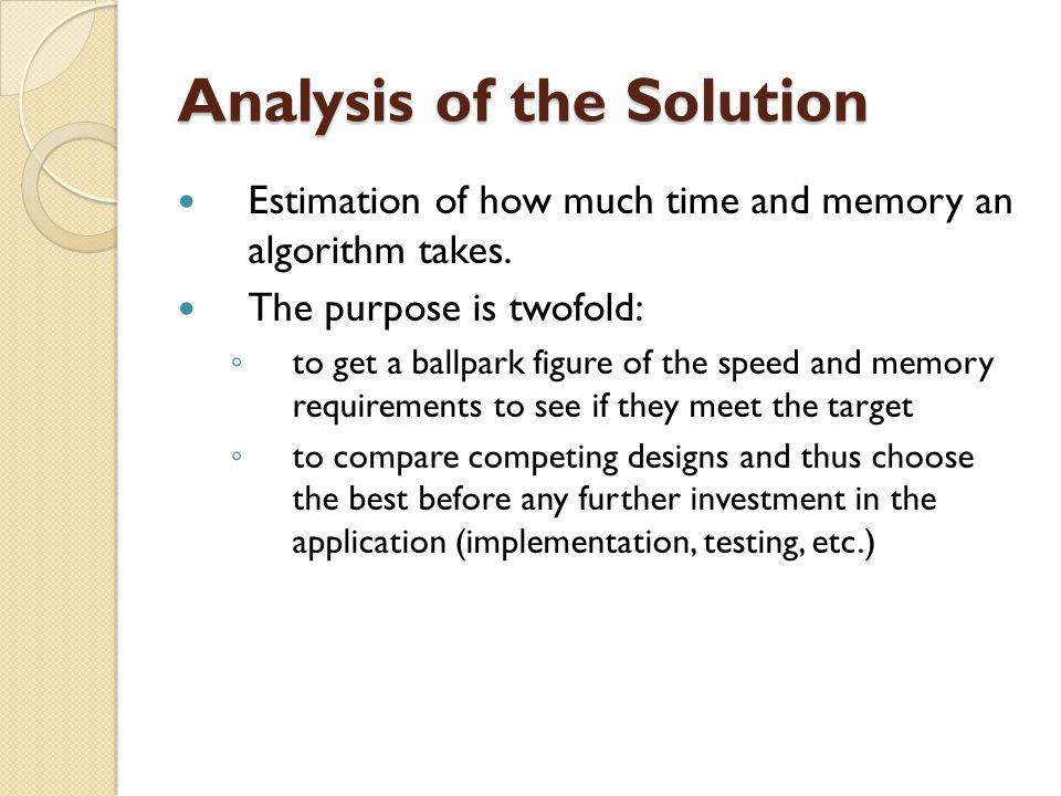 Analysis of the Solution