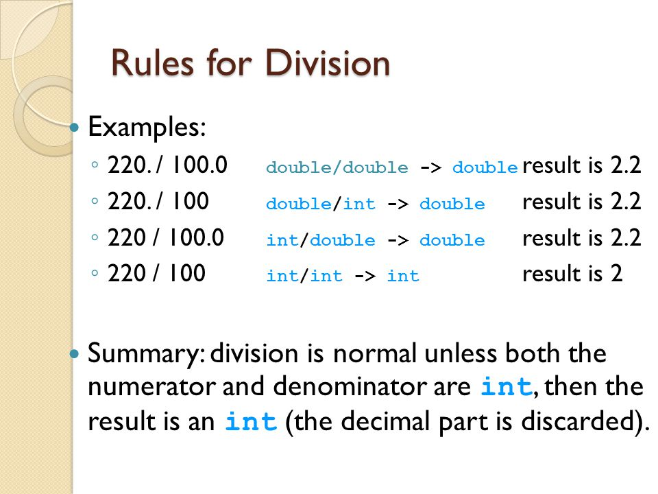Rules for Division Examples: