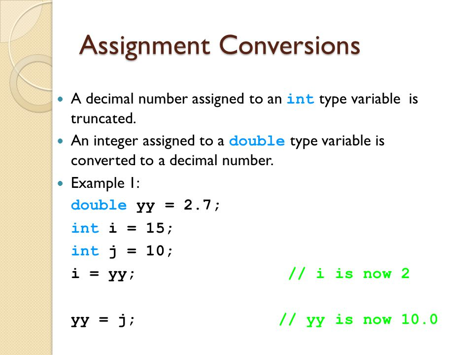 Assignment Conversions