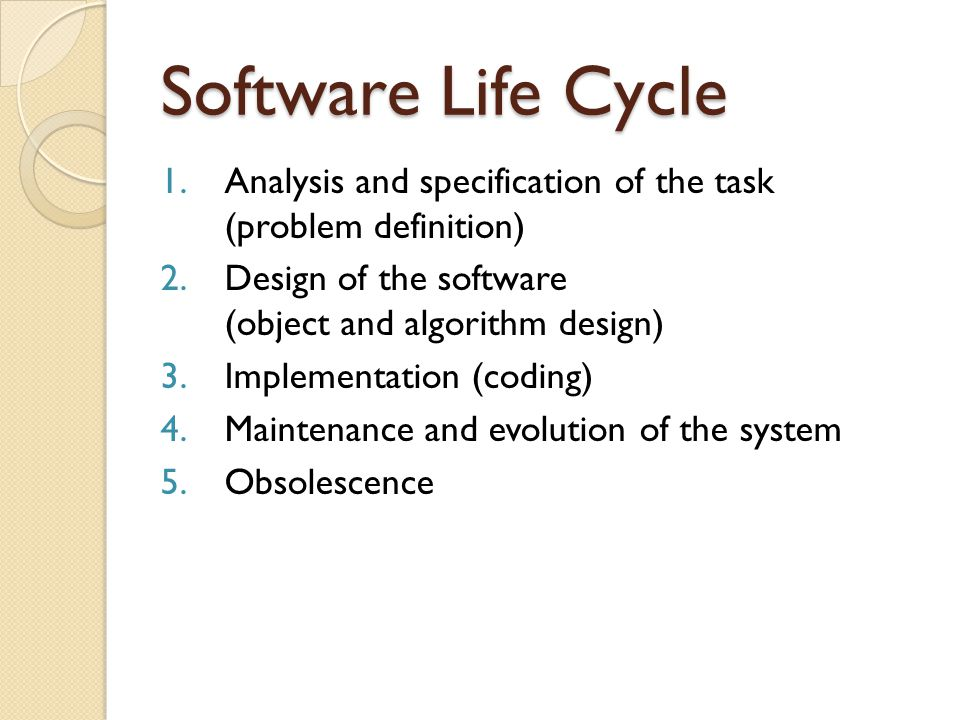 Software Life Cycle Analysis and specification of the task (problem definition) Design of the software (object and algorithm design)