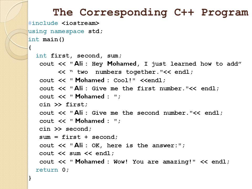 The Corresponding C++ Program