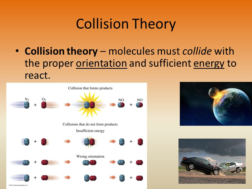 Collision Theory Collision theory – molecules must collide with the proper orientation and sufficient energy to react.