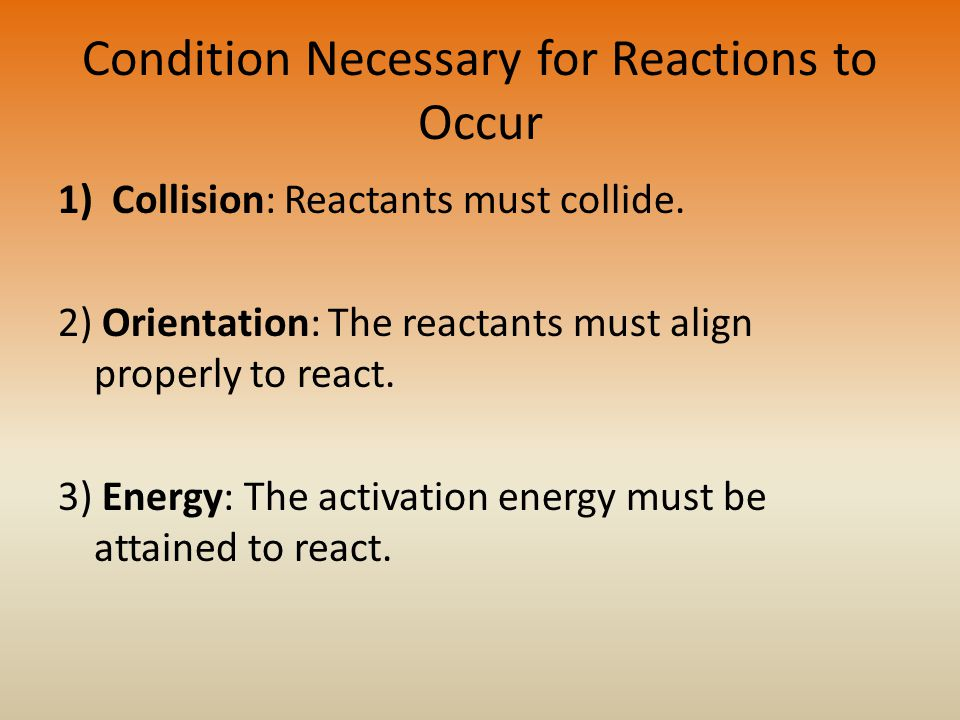 Condition Necessary for Reactions to Occur