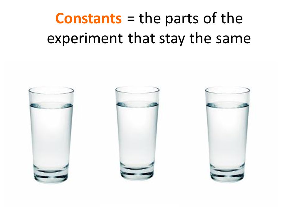 Constants = the parts of the experiment that stay the same