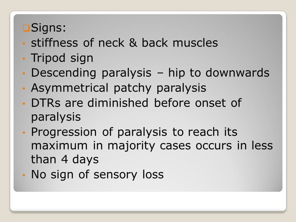 Signs: stiffness of neck & back muscles. Tripod sign. Descending paralysis – hip to downwards. Asymmetrical patchy paralysis.