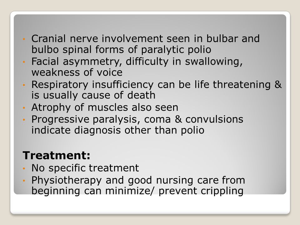 Cranial nerve involvement seen in bulbar and bulbo spinal forms of paralytic polio