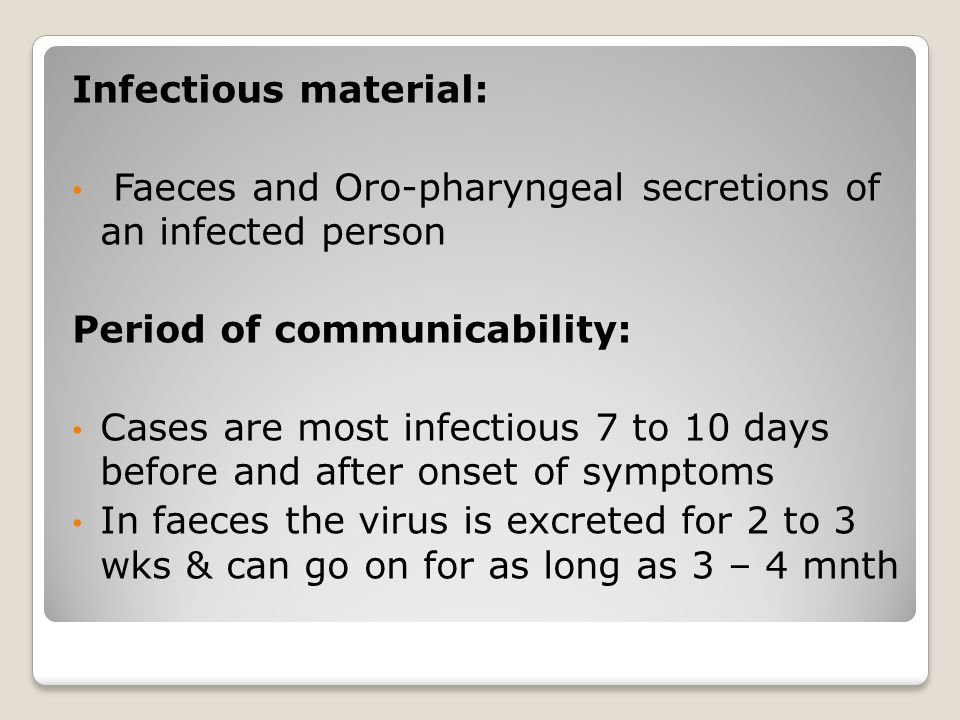 Infectious material: Faeces and Oro-pharyngeal secretions of an infected person. Period of communicability: