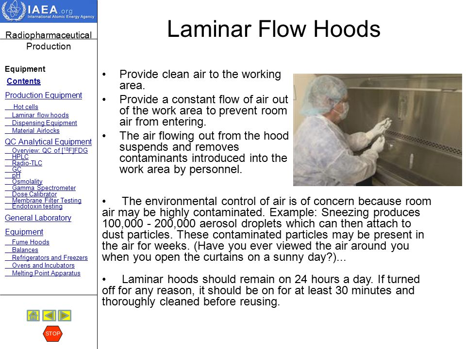 Laminar Flow Hoods Provide clean air to the working area.