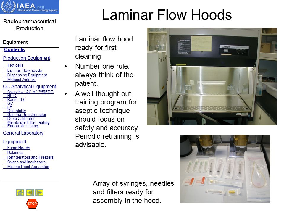 Laminar Flow Hoods Laminar flow hood ready for first cleaning