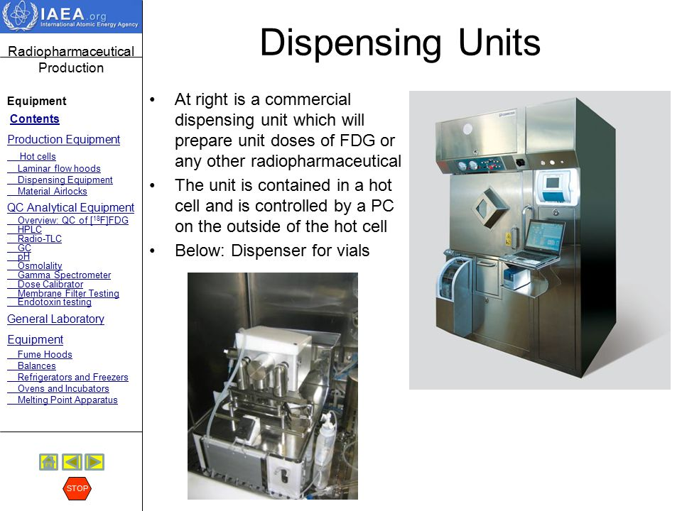 Dispensing Units At right is a commercial dispensing unit which will prepare unit doses of FDG or any other radiopharmaceutical.