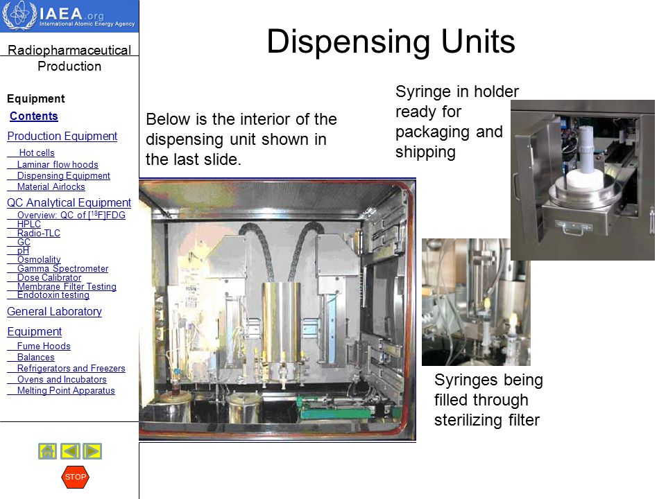 Dispensing Units Syringe in holder ready for packaging and shipping
