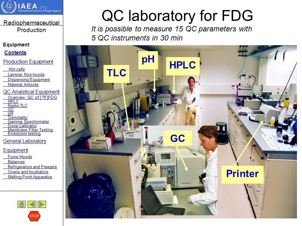 QC laboratory for FDG pH HPLC TLC GC Printer