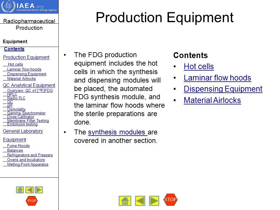 Production Equipment Contents Hot cells Laminar flow hoods