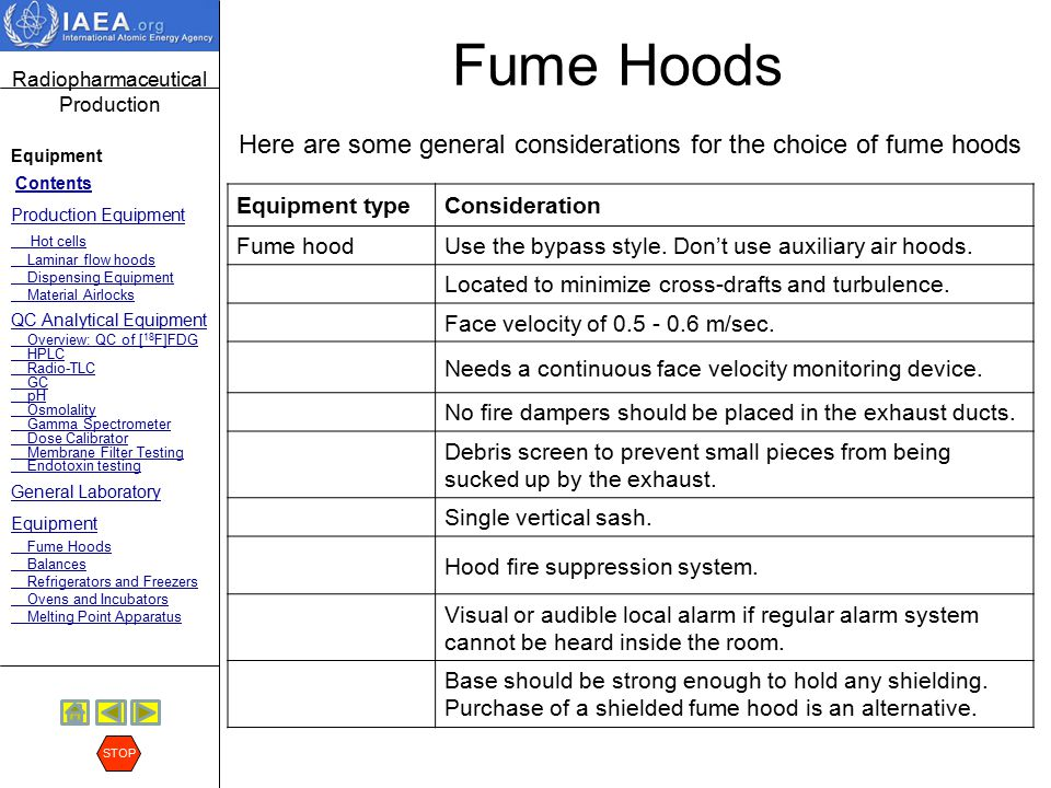 Fume Hoods Here are some general considerations for the choice of fume hoods. Equipment type. Consideration.