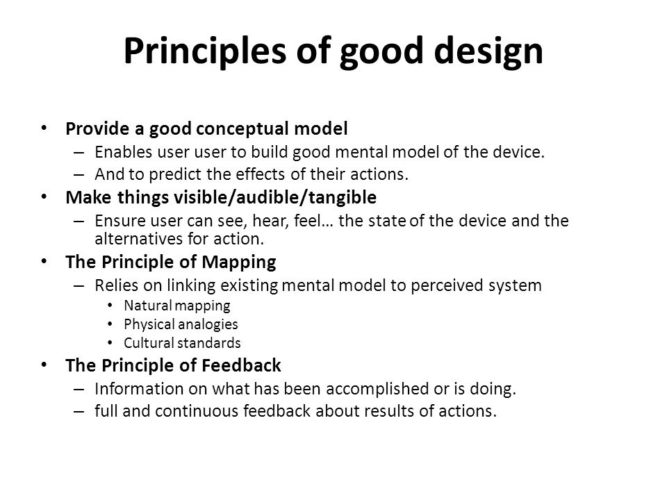 Principles of good design