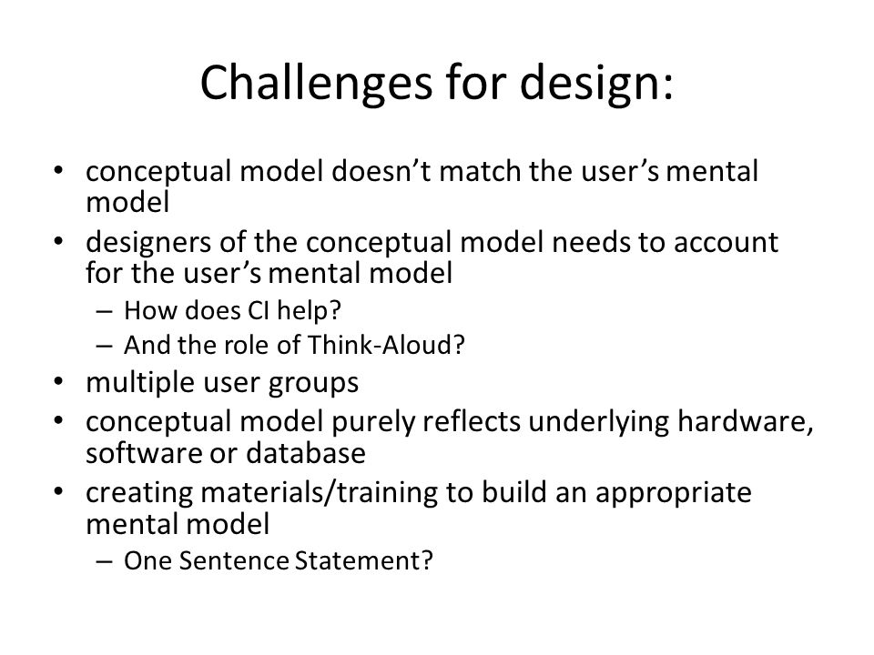 Challenges for design: