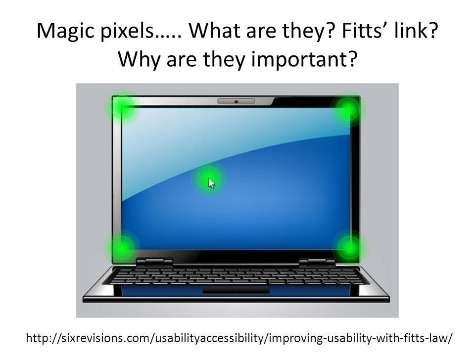Magic pixels….. What are they Fitts' link Why are they important