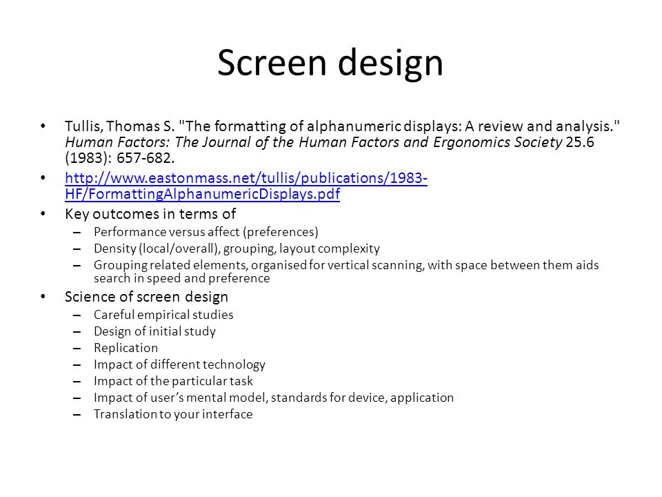 Screen design