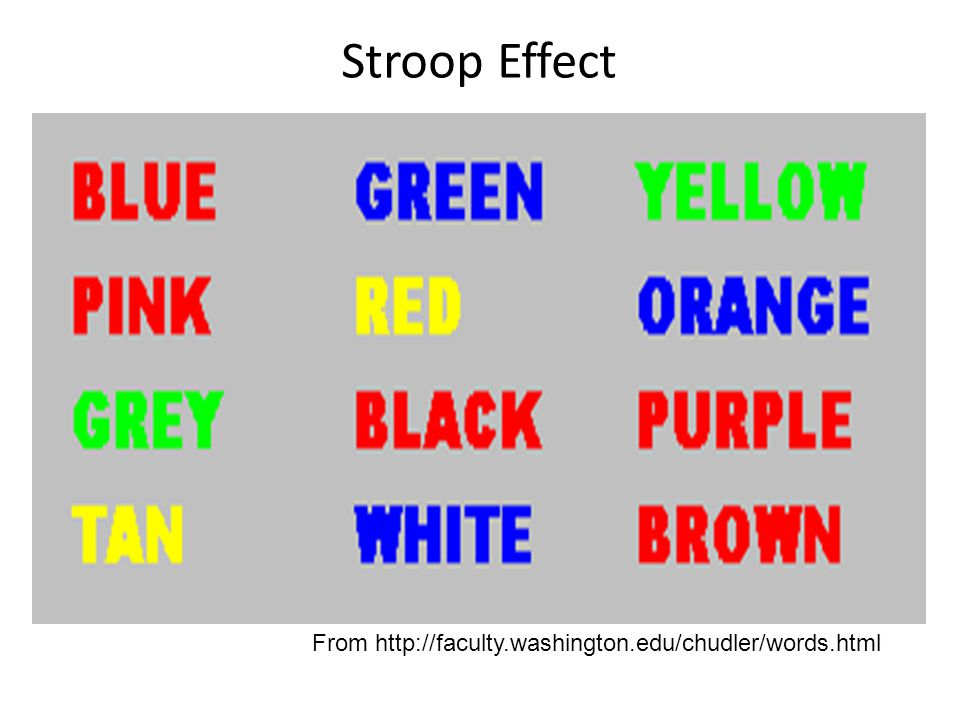 Stroop Effect From http://faculty.washington.edu/chudler/words.html