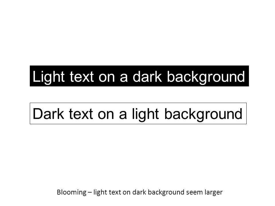 Blooming – light text on dark background seem larger