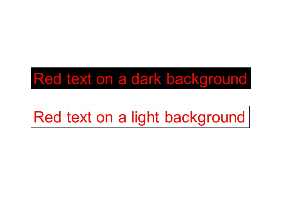 Red text on a dark background