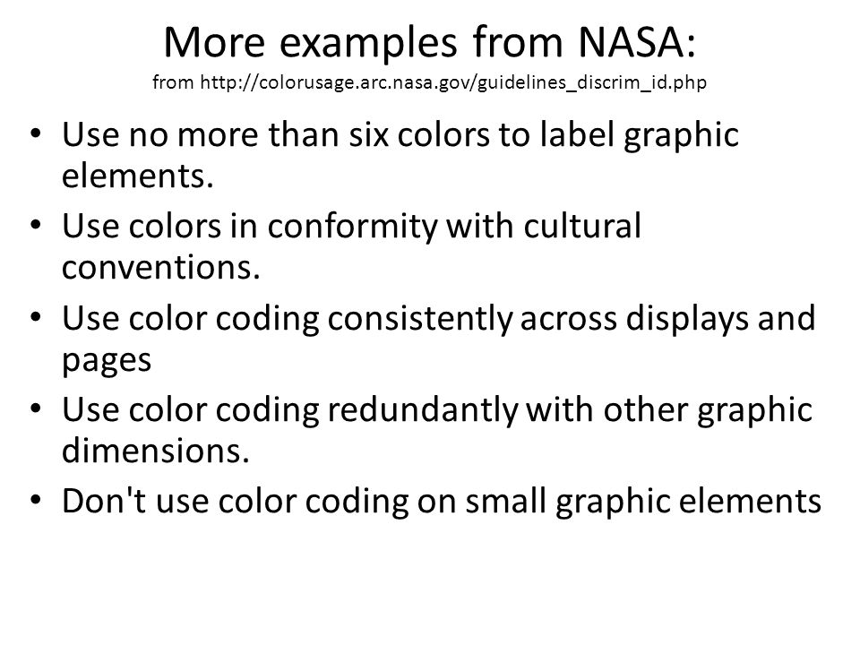 More examples from NASA: from http://colorusage. arc. nasa