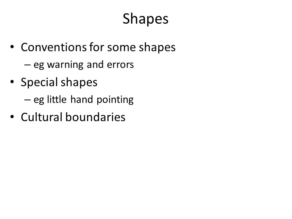 Shapes Conventions for some shapes Special shapes Cultural boundaries