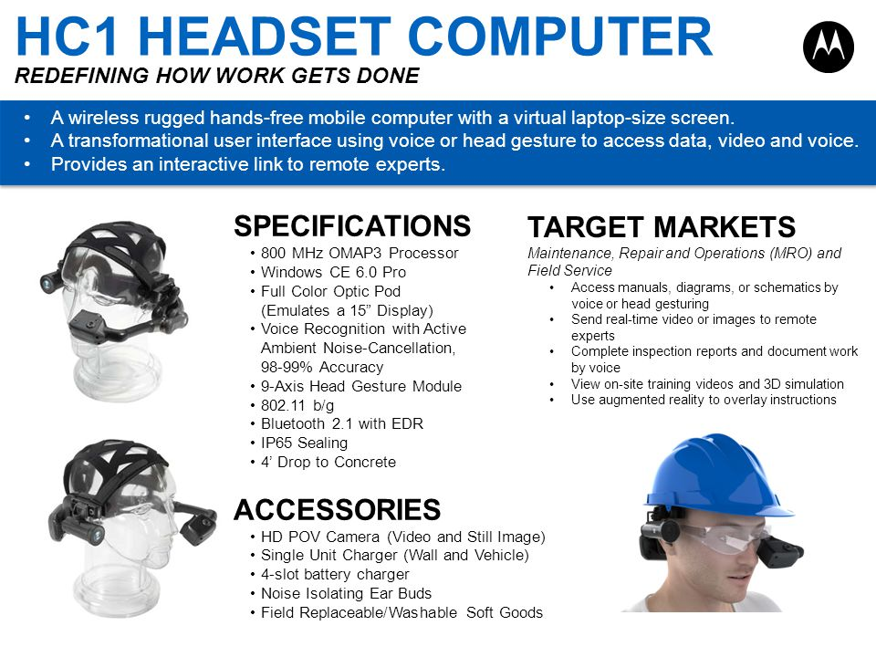 HC1 HEADSET COMPUTER REDEFINING HOW WORK GETS DONE