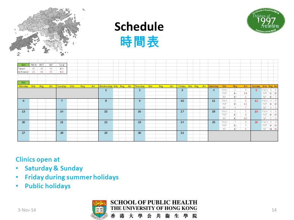 Schedule 時間表 Clinics open at Saturday & Sunday