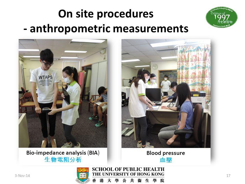 On site procedures - anthropometric measurements
