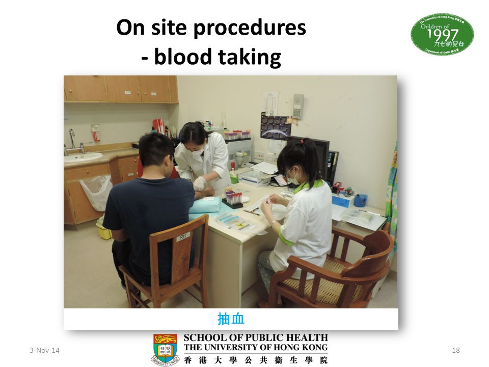 On site procedures - blood taking