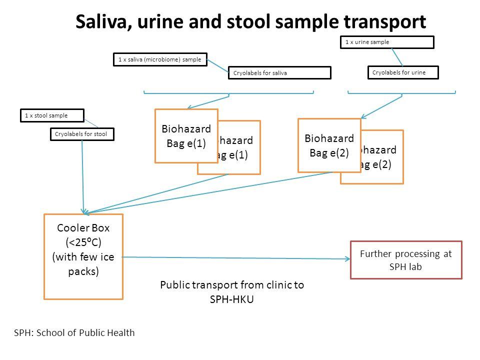 Saliva, urine and stool sample transport