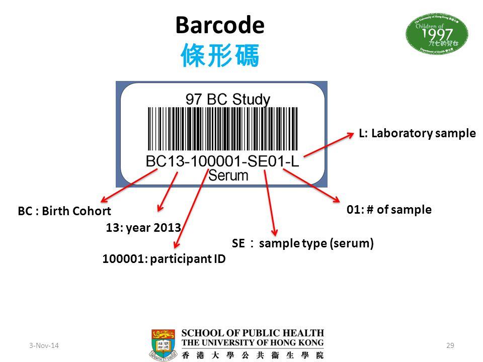 Barcode 條形碼 L: Laboratory sample BC : Birth Cohort 01: # of sample