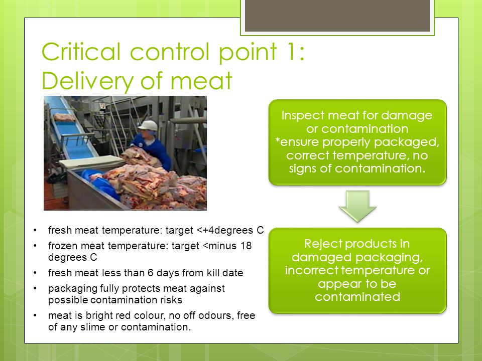 Critical control point 1: Delivery of meat