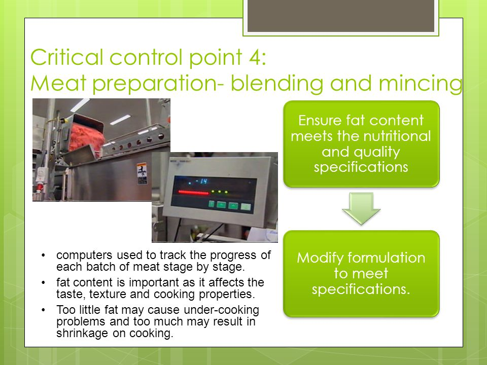 Critical control point 4: Meat preparation- blending and mincing