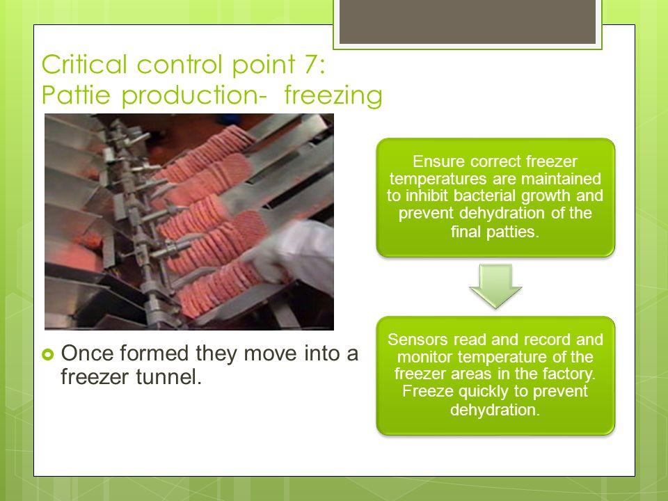 Critical control point 7: Pattie production- freezing