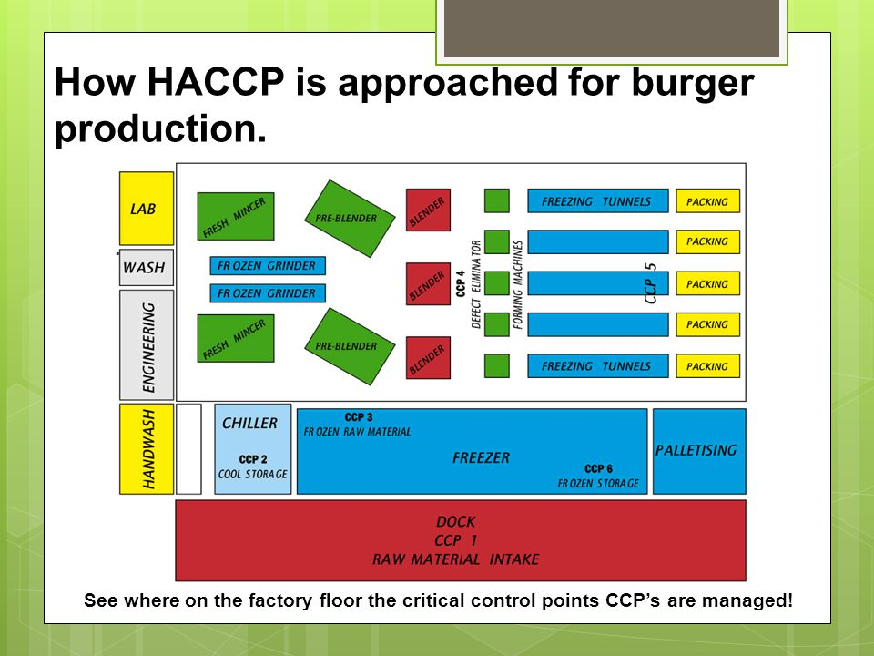 How HACCP is approached for burger production.