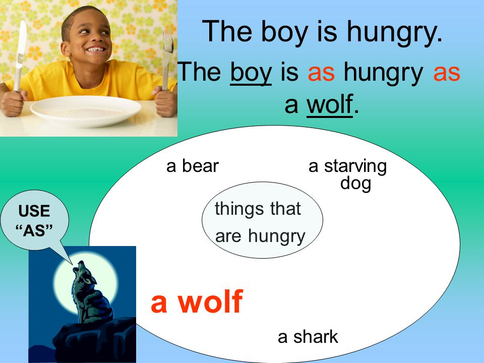 The boy is as hungry as a wolf.