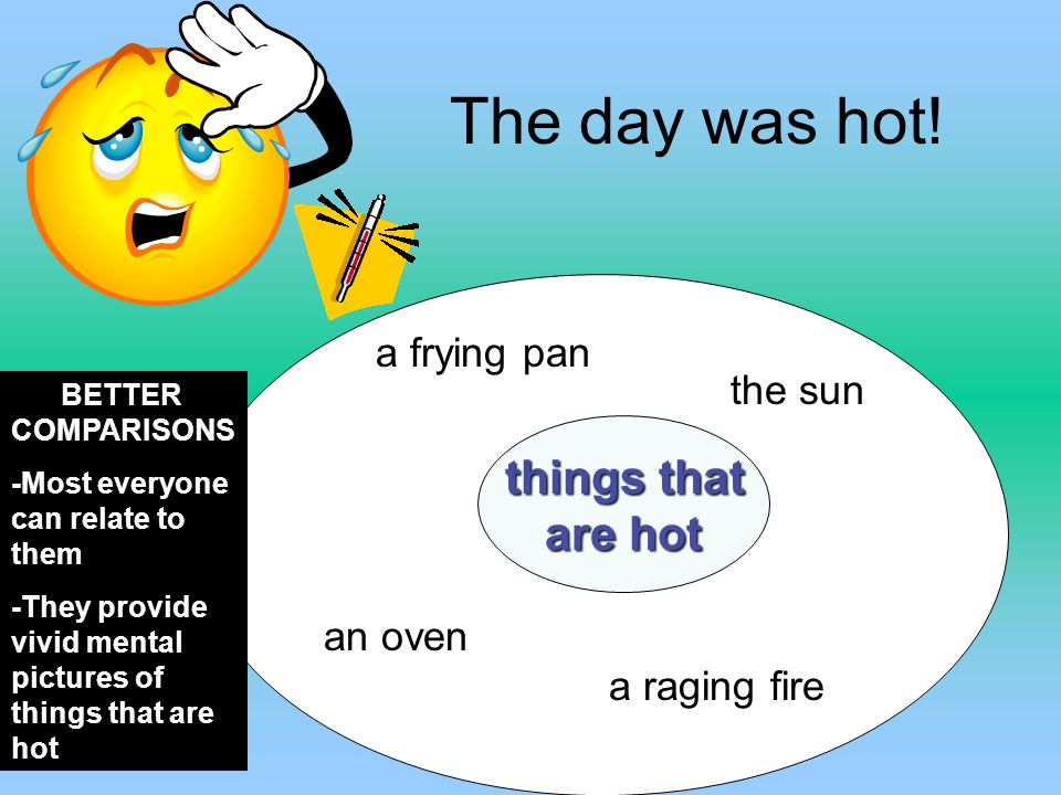 The day was hot! are hot a frying pan the sun things that an oven